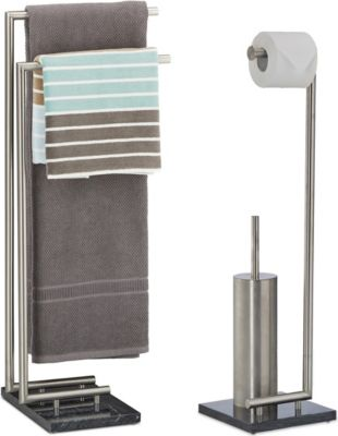relaxdays-2-tlg-badezimmer-set-pierre-handtuchstander-toilettenburstenhalter-marmor-stahl
