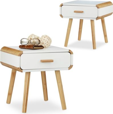 relaxdays 2x Nachttisch Nachtkommode Nachttischschränkchen Nachtschrank Nachttischschrank | Schlafzimmer > Nachttische | Weiß | relaxdays