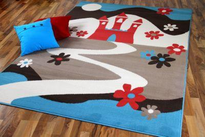 Kinderteppich Trendline Märchenschloß Türkis in 5 Größen 01) 80x150 cm
