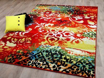 Designer Teppich Funky Vintage Modern Rot Gelb - ABVERKAUF 01) 80x150 cm
