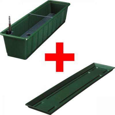 balkonkasten-aqua-green-plus-mit-bewasserung-und-passendem-untersetzer-anthrazit-38-100-cm, 24.14 EUR @ plus-de