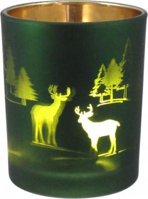 3er Set Glas Teelicht Halter Teelichtglas grün Weihnachtsmotiv | Dekoration > Kerzen und Kerzenständer > Teelichter | Matt - Grün | Glas | Fuchs seit 1895