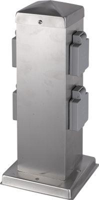HTI-Living Steckdosensäule mit 4 Steckdosen   Baumarkt > Elektroinstallation   Silber   Edelstahl   HTI-Living