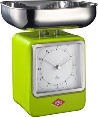 Wesco Retro Waage mit Uhr   Küche und Esszimmer > Küchengeräte > Küchenwaagen   Edelstahl   Wesco