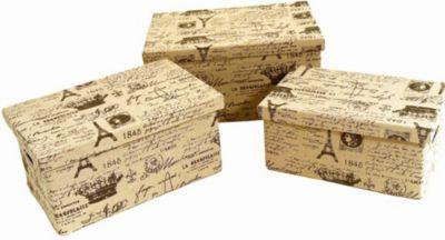 3 Aufbewahrungsboxen mit Deckel, bedruckt