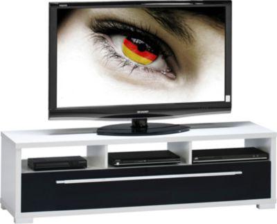 TV-Lowboard weiß/Hochglanz schwarz
