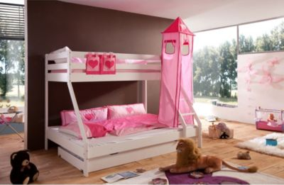 Etagenbett Pink : Hochbett zola weiß pink rosa kinderbett etagenbett