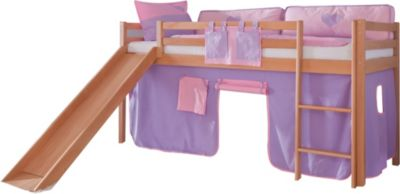 relita-hochbett-toby-buche-massiv-mit-rutsche-stoffset-purple-rosa, 274.99 EUR @ plus-de