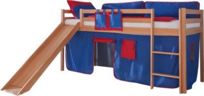 relita-hochbett-toby-buche-massiv-mit-rutsche-stoffset-blau-rot