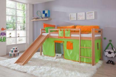 relita-hochbett-toby-buche-massiv-mit-rutsche-stoffset-grun-orange