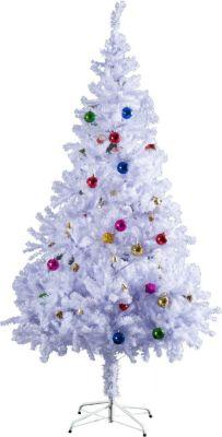 HOMCOM Künstlicher Weihnachtsbaum inkl. Metallständer und Deko Tannenbaum Christbaum Metallständer Lichtfaser