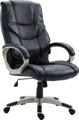 HOMCOM Bürosessel mit dicker Polsterung Chefsessel Drehstuhl Schreibtischstuhl Bürostuhl | Büro > Bürostühle und Sessel  > Chefsessel | Schwarz | HOMCOM