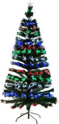 HOMCOM Künstlicher Weihnachtsbaum mit Leuchtfaser Tannenbaum Christbaum LED Xmas tree Lichtfaser