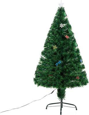 HOMCOM Tannenbaum inklusive Metallständer Weihnachtsbaum Christbaum LED Xmas tree Lichtfaser