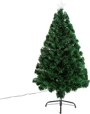HOMCOM Weihnachtsbaum inklusive Metallständer Tannenbaum Christbaum LED Xmas tree Lichtfaser