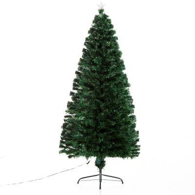HOMCOM Christbaum inklusive Metallständer Weihnachtsbaum Tannenbaum LED Xmas tree Lichtfaser
