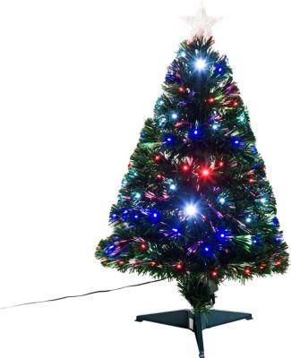 HOMCOM Künstlicher Tannenbaum inklusive Metallständer Weihnachtsbaum Christbaum LED Xmas tree Lichtfaser