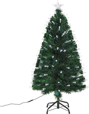 HOMCOM Künstlicher Weihnachtsbaum mit Metallständer Tannenbaum Christbaum LED Xmas tree Lichtfaser