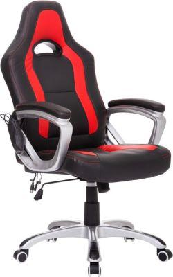 HOMCOM Massagesessel Chefsessel Racing mit Wärmefunktion Schreibtischstuhl Bürostuhl mit Armlehnen Drehstuhl