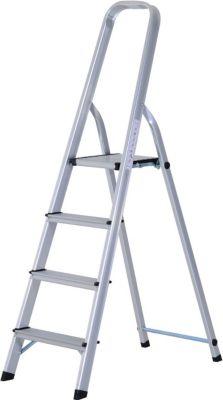 HOMCOM Trittleiter mit 4 Stufen Aluleiter Klapptritt Mehrzweckleiter Stehleiter | Baumarkt > Leitern und Treppen | Aluminium | HOMCOM