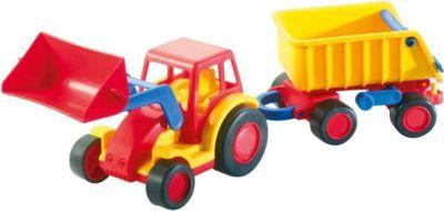 Fahrzeuge Baufahrzeuge Holz LKW mit Hänger Kippfunktion & Gummibereifung
