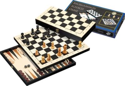 Philos Reise-Schach-Backgammon-Dame-Set