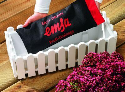 Emsa LANDHAUS Blumenkasten 50cm , weiß + Easy DRAIN Drainagebeutel 38x15cm, 1 Stück