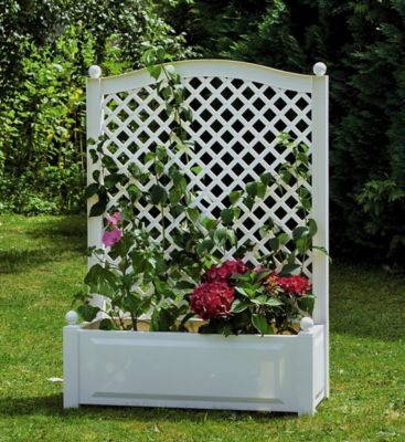 Pflanzkasten mit Spalier 100 cm, weiß | Garten > Pflanzen > Pflanzkästen | KHW