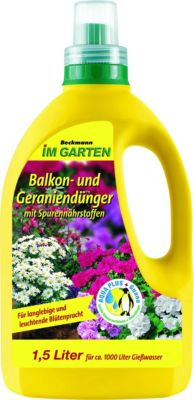 Beckhorn Balkon- und Geraniendünger plus Spurennährstoffe, flüssig, 1500 ml reicht für 1.000 Liter Gießwasser