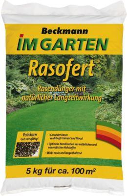Beckmann im Garten Rasofert® Rasendünger, organisch-mineralisch mit natürlicher Langzeitwirkung durch Horngrieß, NPK-Dünger 12+3+5 mit 2 % Magnesium, 5 kg
