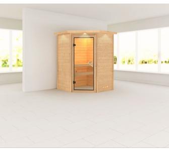 Woodfeeling Aurel 38 mm Sauna, mit Dachkranz