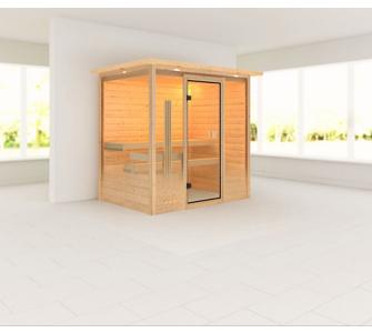 Woodfeeling Samira 38 mm Sauna, mit Dachkranz