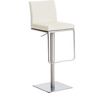 Edelstahl Barhocker PANAMA, aus bis zu 9 Polsterfarben wählen, Sitzhöhe 58 - 82 cm, drehbar, mit Fußstütze