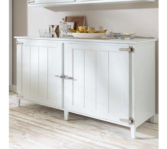 Küchenschrank aus Kiefernholz, weiß, ca. B140 x T70 x H90,5 cm