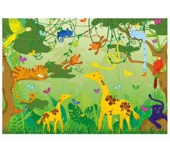Tapete kinder kinderzimmer tiere dschungel comic jungle 400x280cm