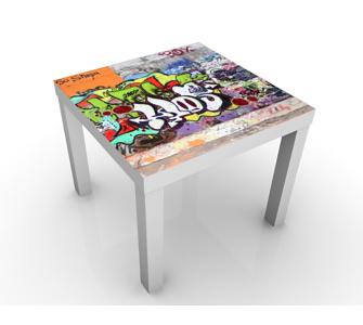 Design Tisch Graffiti 55x45x55cm Beistelltisch, Couchtisch, Motiv-Tisch, Kinderzimmer, Graffiti, Kunst, Street Art, Jugendkultur, Hip Hop
