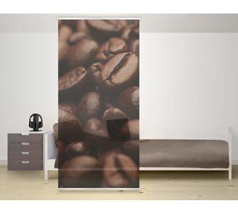 Design Raumteiler Coffee Arabica Kaffee Schiebe Gardine Flächen Vorhang Paravent Bohnen Tasse Braun Aroma Cafe