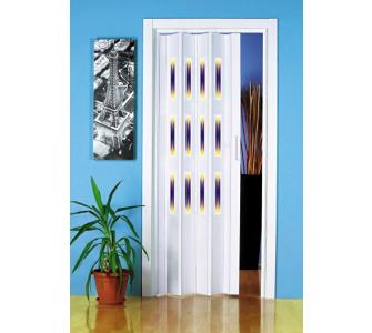 Kunststoff-Falttür, in 3 Dekoren, weiß, Dekor 1