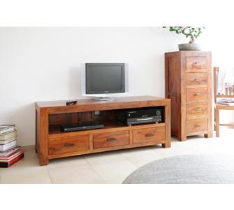 WOLF MÖBEL Massivholz TV-Tisch mit 3 Schubladen aus Akazie Guru