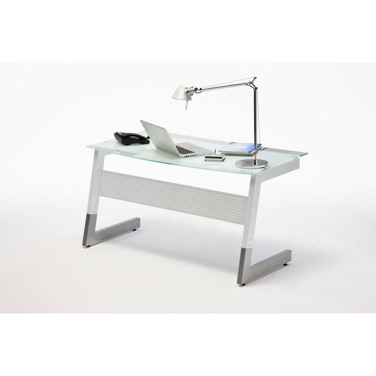 Glas Schreibtisch 2 farbig weiss / silber jetztbilligerkaufen