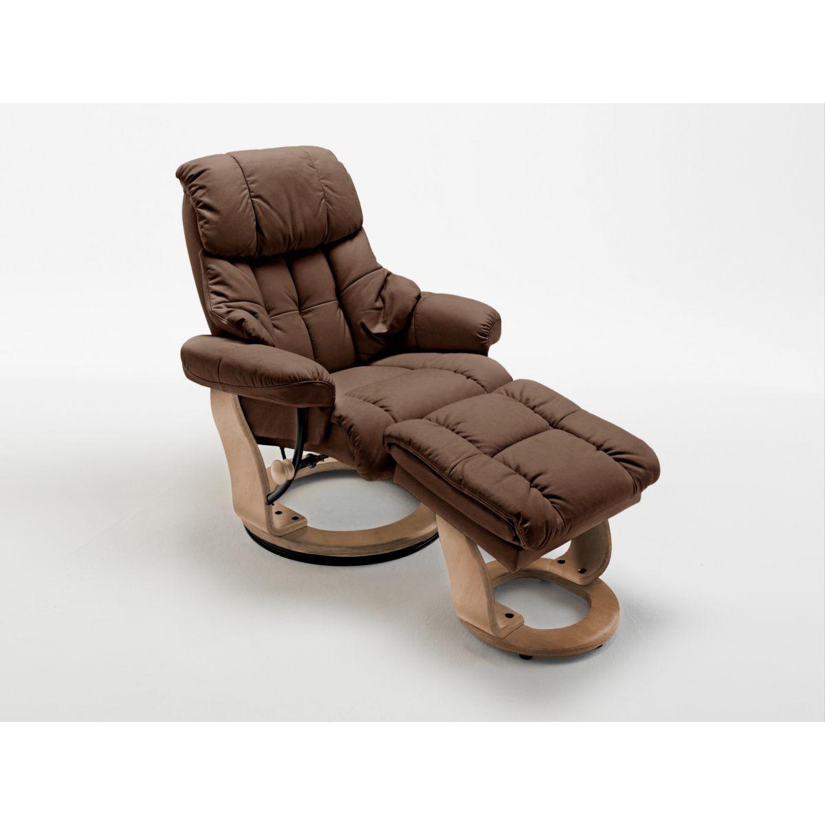 Relaxsessel mit Hocker in braun Kunstleder / Leder jetztbilligerkaufen