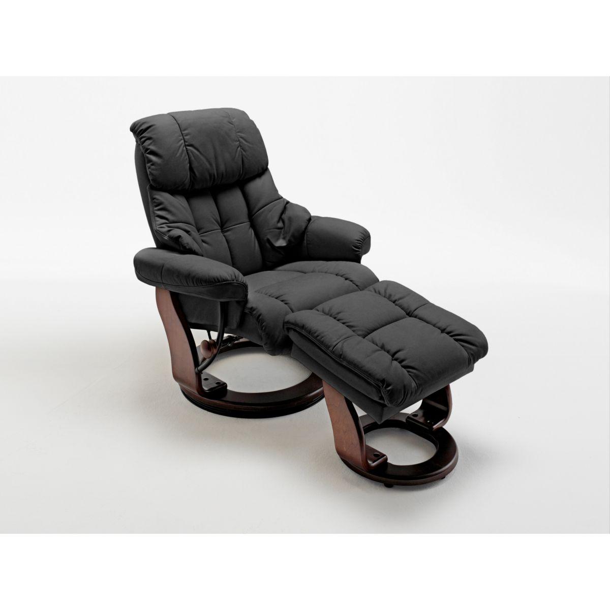 Relaxsessel mit Hocker schwarz Kunstleder / Leder jetztbilligerkaufen