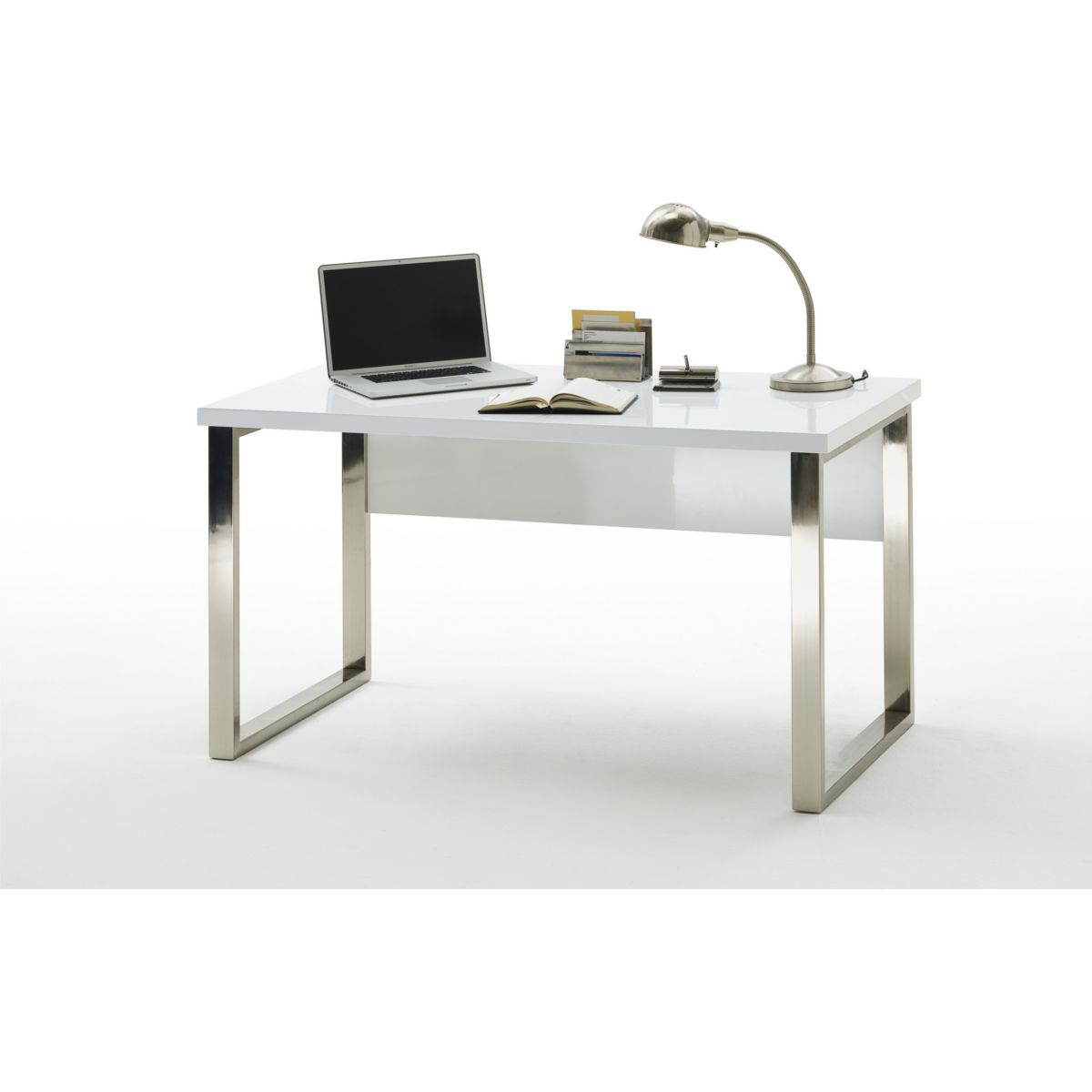 Schreibtisch weiss hochglanz lackiert / verchromt jetztbilligerkaufen