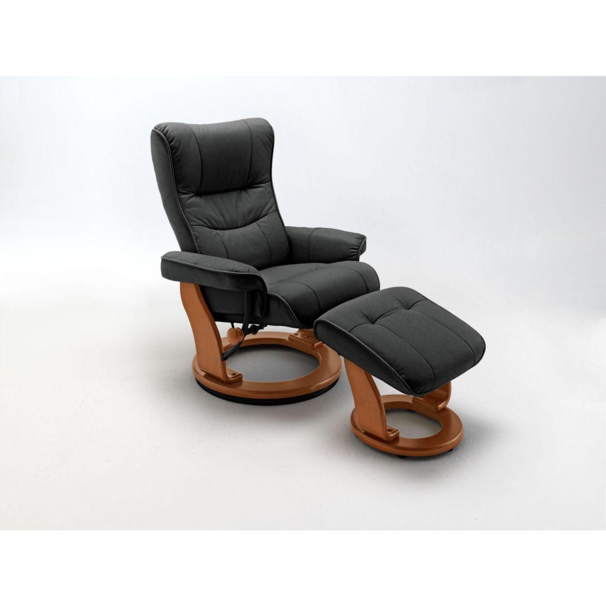 Relaxsessel mit Hocker Leder / Kunstleder schwarz jetztbilligerkaufen