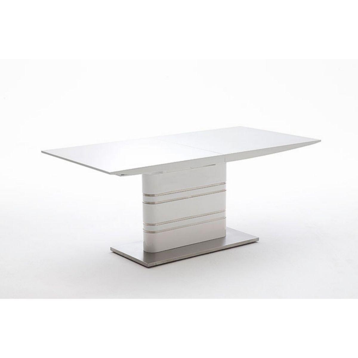Esstisch 180 x 90 cm weiss hochglanz/ Edelstahl jetztbilligerkaufen