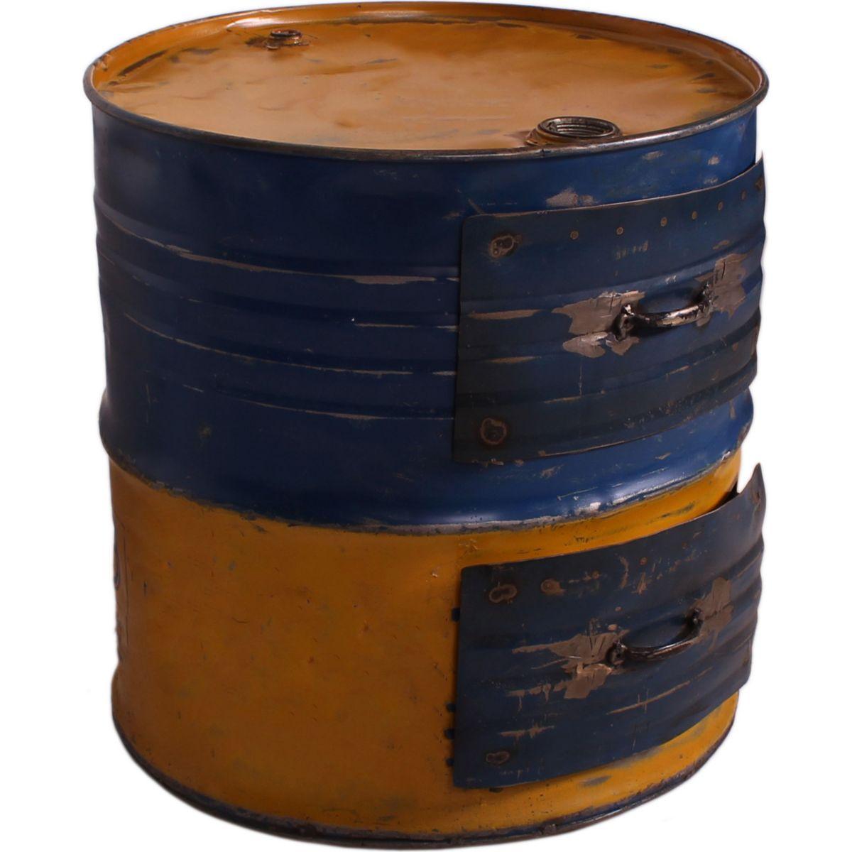 Beistelltisch Desgin aus recycelten Ölfässern Metall in gelb / blau bemalt jetztbilligerkaufen