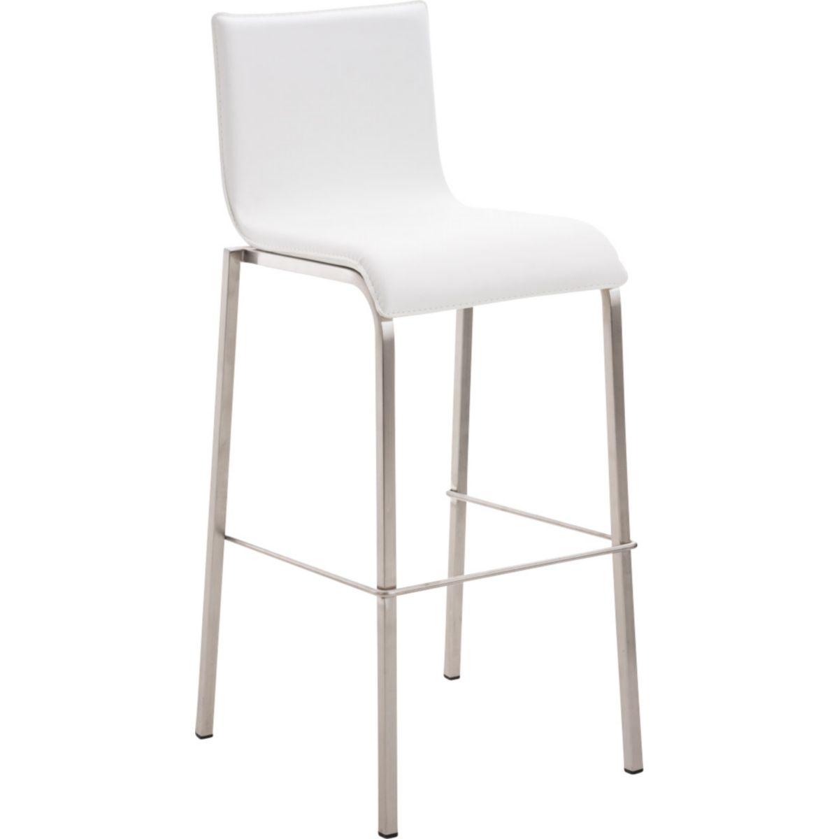 CLP Edelstahl Barhocker AVOLA mit Lehne und Sitzpolster pflegeleichtem Kunstlederbezug   Stapelbarer Barstuhl Metallgestell Fußstütze einer Sitzhöhe von 78 cm In verschiedenen Farben erhältlich jetztbilligerkaufen