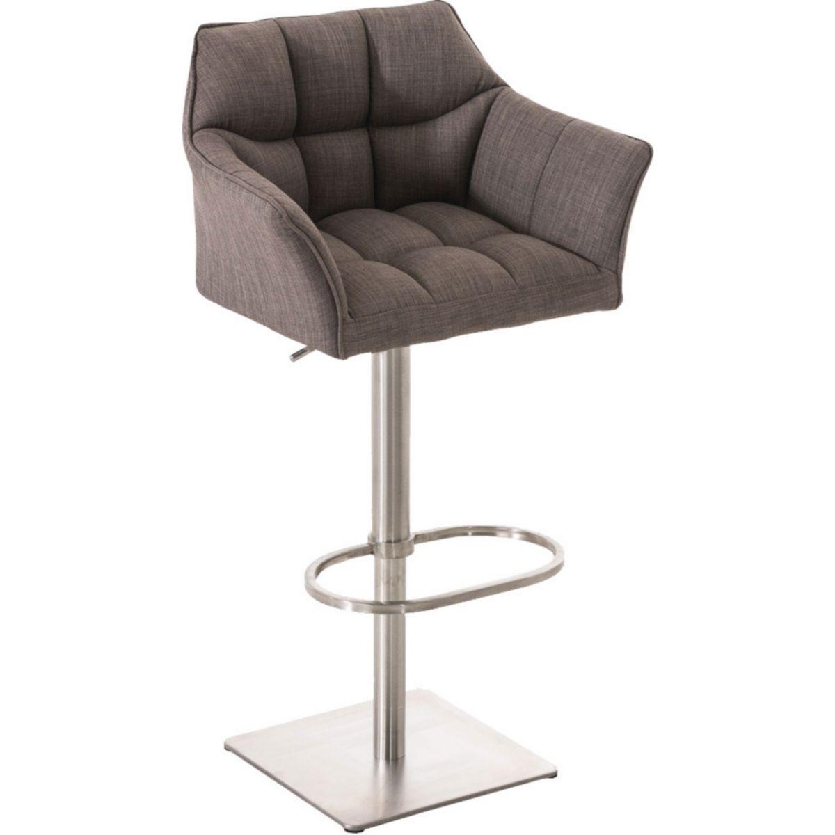 CLP Barhocker DAMASO E mit Stoffbezug und Lehne   Das Edelstahl-Gestell ist drehbar höhenverstellbar Der Barstuhl gepolstert in verschiedenen Farben erhältlich Stuhl verfügt über eine Fußablage jetztbilligerkaufen