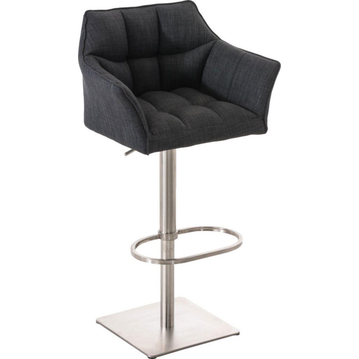 CLP Barhocker DAMASO E mit Stoffbezug und Lehne | Das Edelstahl-Gestell ist drehbar höhenverstellbar Der Barstuhl gepolstert in verschiedenen Farben erhältlich Stuhl verfügt über eine Fußablage jetztbilligerkaufen