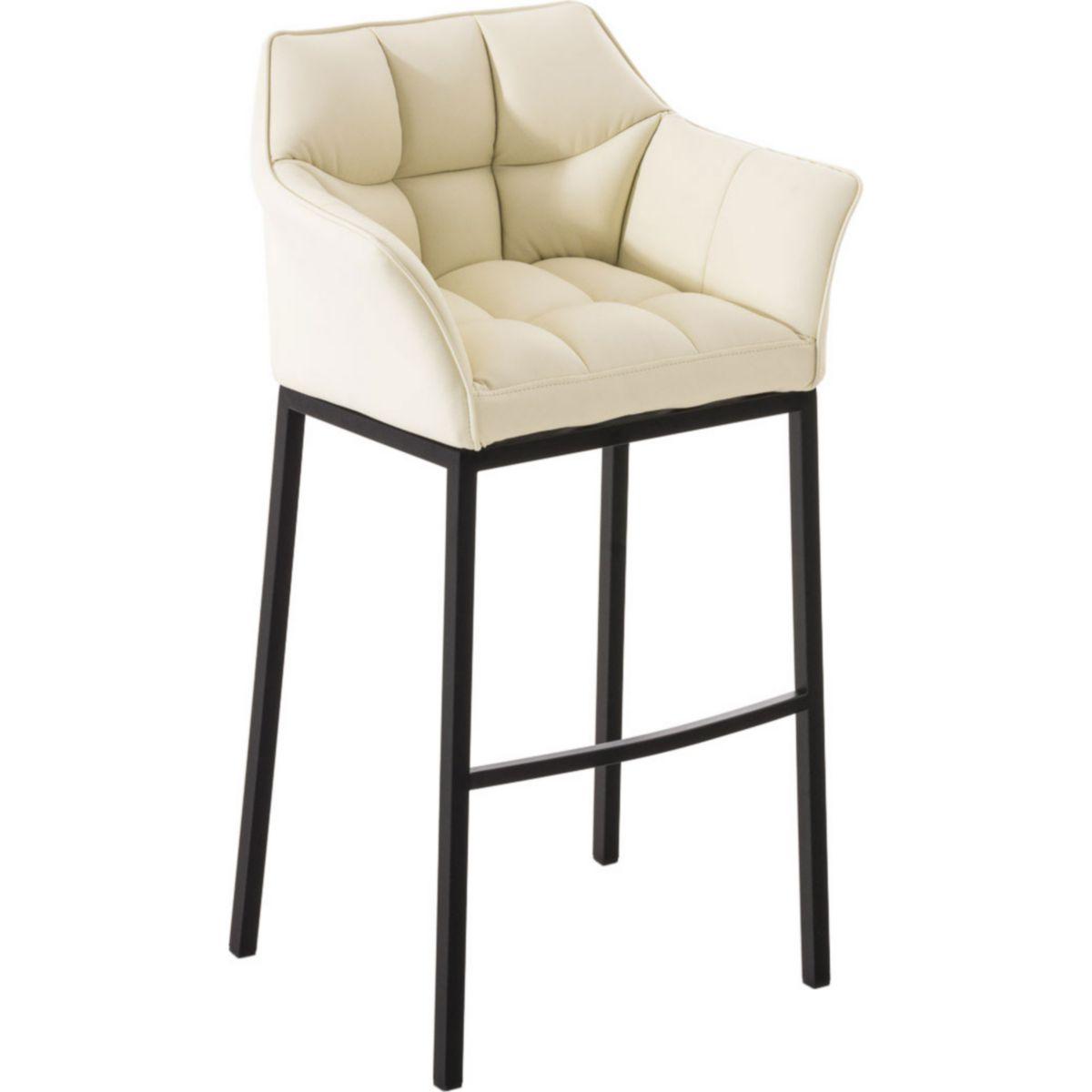 CLP Barhocker DAMASO B mit Rückenlehne und hochwertiger Polsterung | Barstuhl pflegeleichtem Kunstlederbezug Hocker hohem Sitzkomfort durch Lehne Fußstütze jetztbilligerkaufen